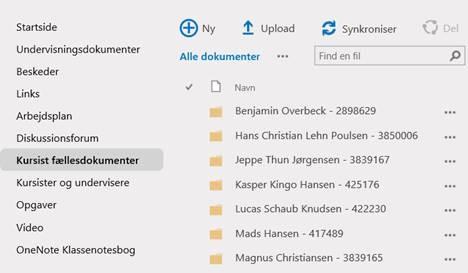 Kursist fællesdokumenter i SharePoint